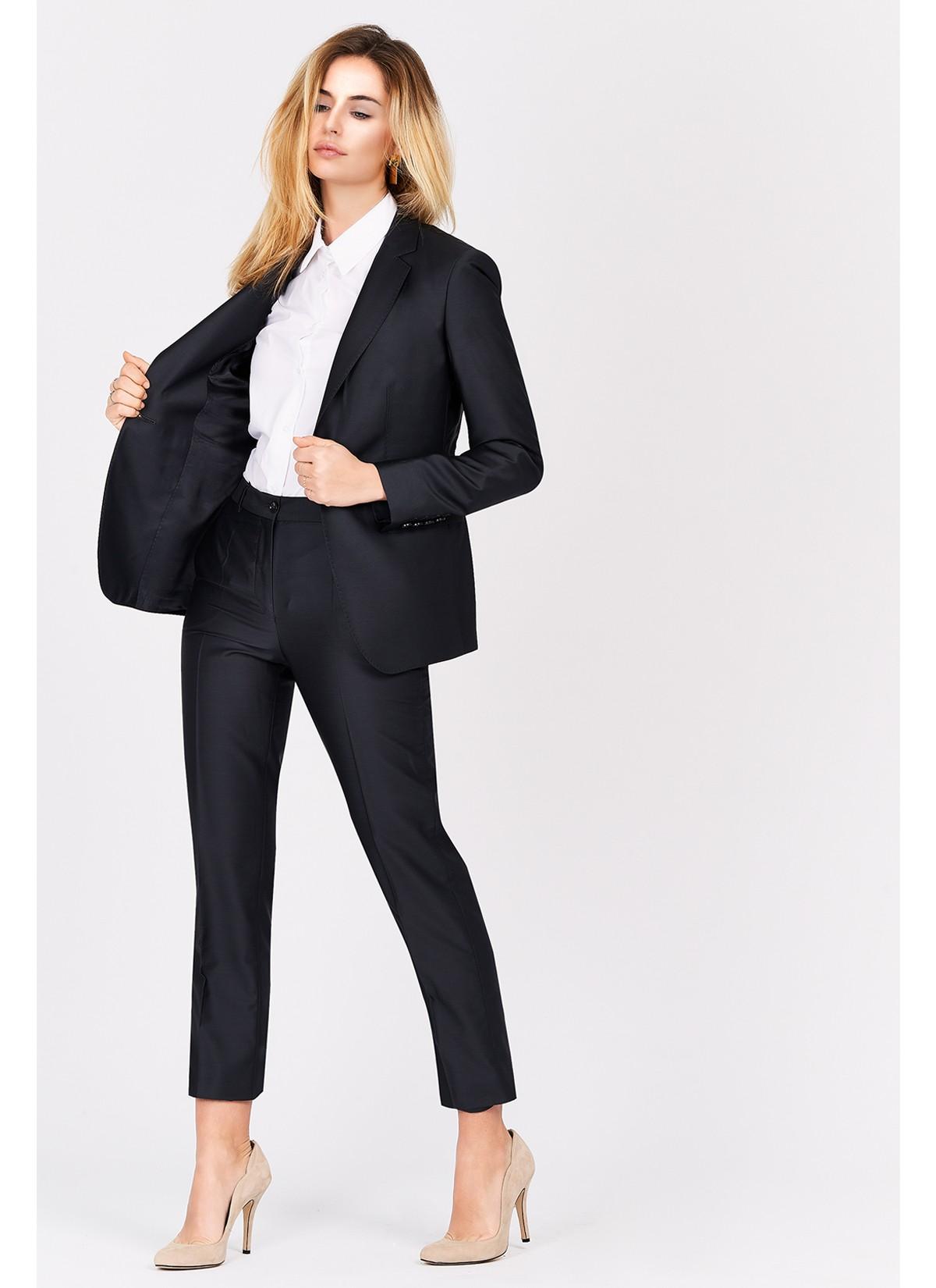 Veste tailleur slim fil à fil motif chevron femme