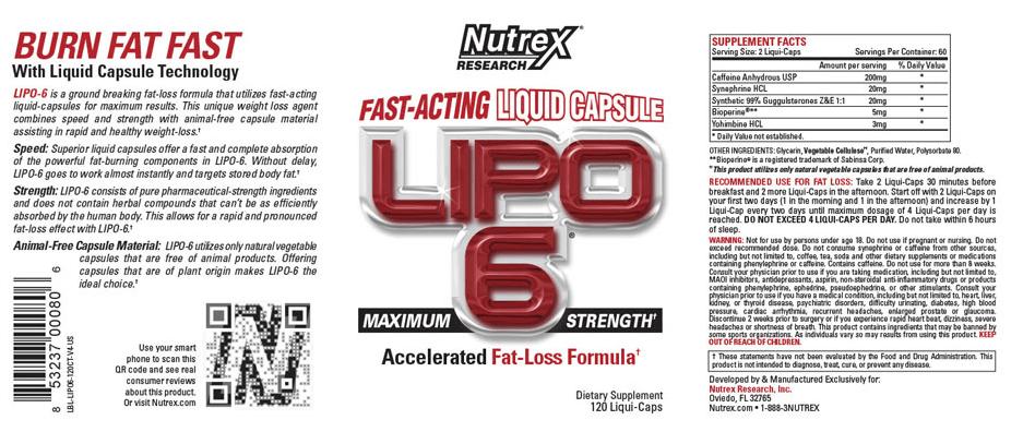 Nutrex Lipo 6x mode d'emploi. Instructions d'utilisation ou comment prendre